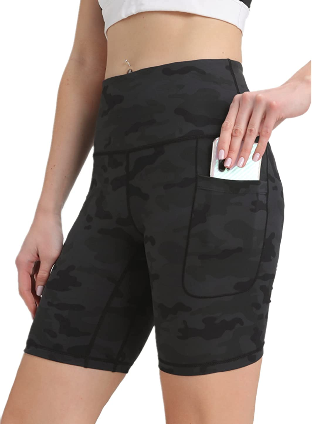 FETY Women's High Waist Yoga Shorts Biker Workout Shorts Running Athletic Short with 2 Pockets Tommy Control