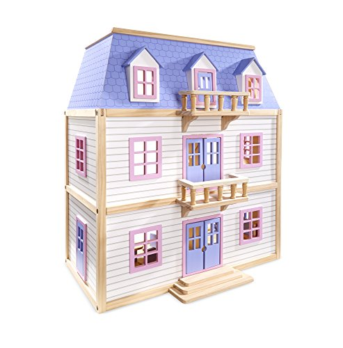 Melissa & Doug Modern Wooden Multi-Level Dollhouse With 19 pcs Furniture [White]