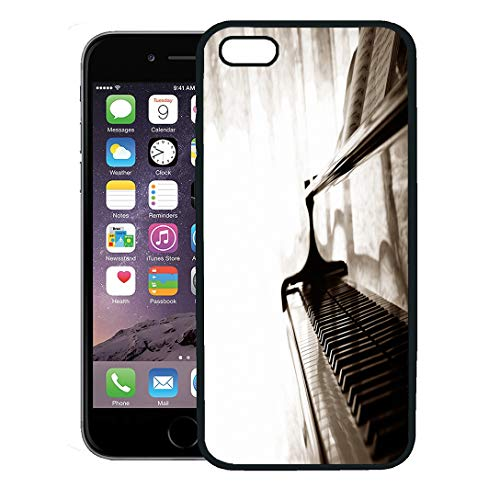 c0a13e07d0b55 Semtomn Phone Case for iPhone 8 Plus case Cover,Music Abstract Grand Piano  Jazz Instrument Soul Recital Concert,Rubber Border Protective Case,Black
