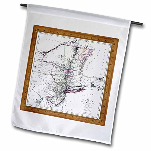 3dRose fl_60473_1 Antique 1771 Map of New York N New Jersey Garden Flag, 12 by ()