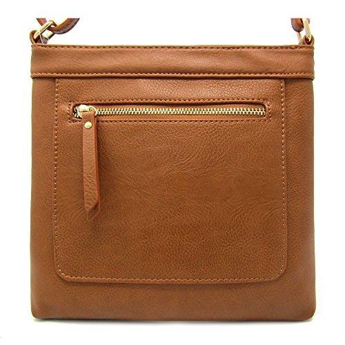 Solene Women's Lightweight Multi Compartment Faux Leather Croosbody Bag (Tan Messenger Style Handbag)
