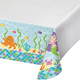 Creative Converting 317702 Border Print Plastic Tablecover, 54 x 102, Mermaid Friends (2-Pack)
