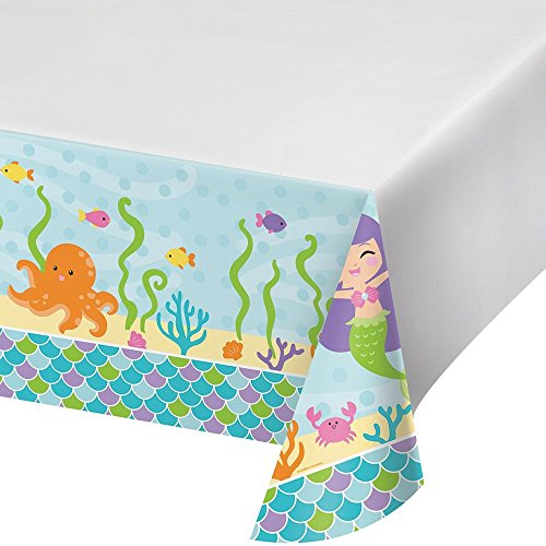 Creative Converting 317702 Border Print Plastic Tablecover, 54 x 102, Mermaid Friends (2-Pack) by Creative Converting