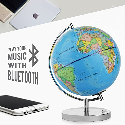 """LED Light Up Globe with Bluetooth Speaker, Chrome Base and Detailed World Map - Constellations Glow at Night – Projects Star Lights on Ceiling as Nightlight - 12.5 x 9"""" - by ToyThrill Photo #2"""