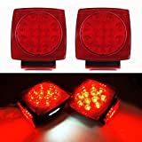 iBrightstar 12V Submersible Square Trailer Tail LED Light kit Super Bright Brake Stop Tail License Lights for Camper Truck RV Boat Snowmobile Under 80'' Inch Marine, Red/White