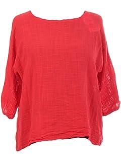 83d6624933ed0e New Italian Ladies Women Lagenlook Linen Cotton Summer Crop Top One Size  10-18