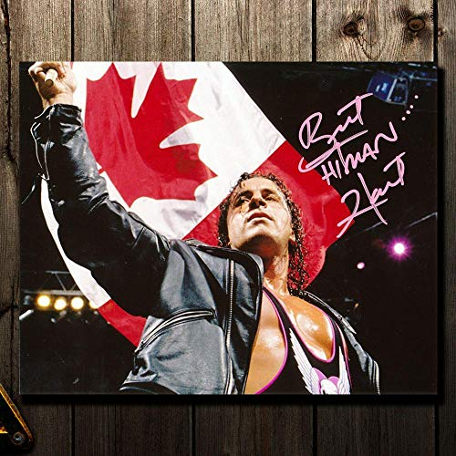 Signed Thomas Hearns Picture - Brett Hart THE HITMAN Wrestling CANADIAN FLAG 8x10 - Autographed Boxing ()