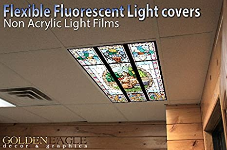 Fantasy Stained Glass   2ft X 4ft Drop Ceiling Fluorescent Decorative Ceiling  Light Cover Skylight Film     Amazon.com