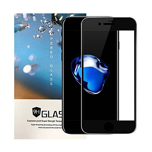 (iPhone 8 Plus Tempered Glass Screen Protector, Tiamat Carbon Fiber 3D Curved Edge Full Coverage Anti-Scratch Anti-Fingerprint Film for iPhone 8 Plus - Black)