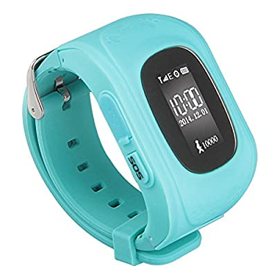 Padgene Mini Child Bracelet GPS Watch Hiking GPS Tracking Device Quad-band Smartwatch Wrist Watch Activity Tracker LED Watch SOS Mobile Phone Alarm Clock Child Anti-lost Locator Watch GSM Sim For Android IOS(Blue)