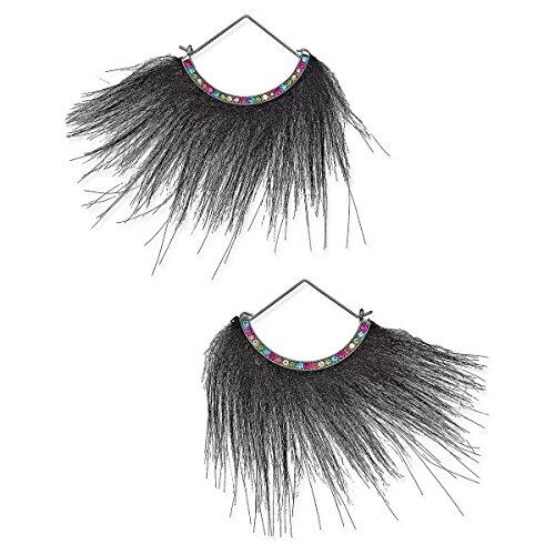 Betsey Johnson xox Trolls Faux-Fur Fan Earrings Black Betsey Johnson Faux Earrings