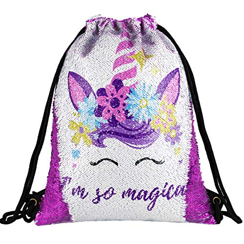 Unicorn Gift Sequin Mermaid Drawstring Backpack Gym Dance Bags for Girls Kids Magic Reversible Flip Sequin School Bag Shoulder Travel Bags Birthday Gift for Daughter Children Women (Magical Purple)