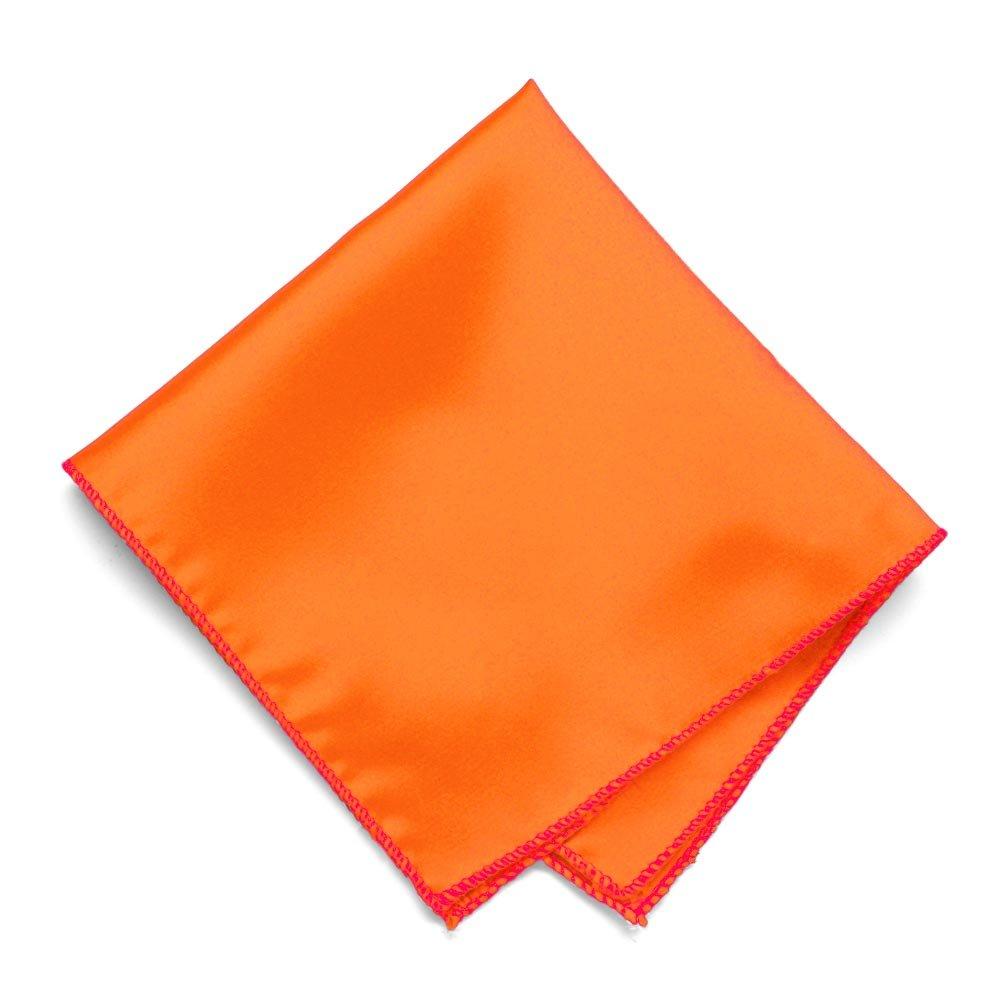 TieMart Neon Orange Solid Color Pocket Square
