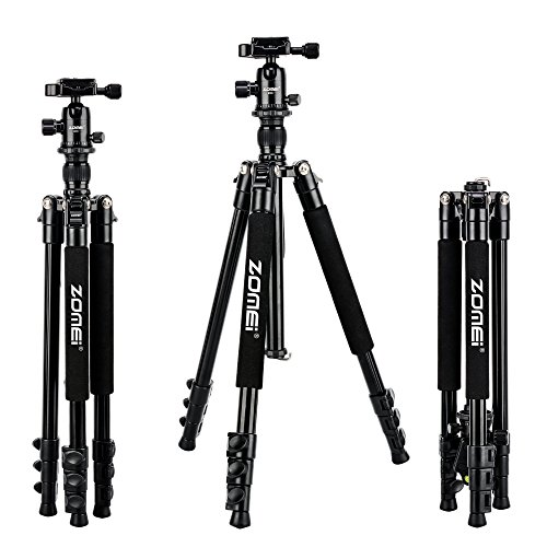 "Zomei Q555 Lightweight Alluminum Alloy Camera Tripod with 360 Degree Ball Head + 1/4"" Quick Release Plate For Canon Nikon Sony Samsung Panasonic Olympus Fuji DSLR And Camcorders"