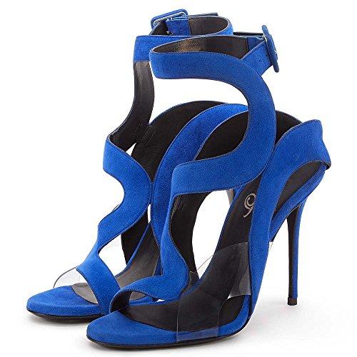 Del De Dedo De Pie Tacón Serpiente Sandalias Zapatos De Blancos Punta GONGFF Mujer Con De Piel Sandalias Y De Blue Con Vendajes De Alto Zapatos Roma RwOfwqTP7