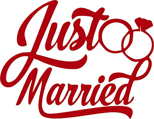 (Family Connections JUST Married 2 ~ Reflective Red ~ Window/Car / Truck/Boat / Yeti/Laptop / iPhone/Wall Decal with Alcohol PAD~ Size 16