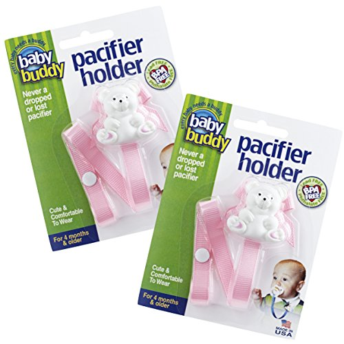 Baby Buddy Pacifier Holder Clip - Cute Fashionable Bear Clips onto Baby's Shirt, Snaps to Paci, Teether, Toy - For Babies 4+ Months - Pacifier Clip for Toddlers Boys & Girls, Light Pink, 2 Count Baby Buddy Pacifier Holder