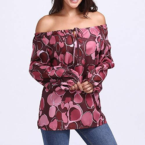 Manches Longues Femmes Imprim Imprime Lache Rouge Dot T Blouse Shirt Innerternet paules Casual Chemise Dnudes toile pHH0qC