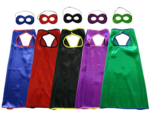Baby Song 5 Different Superheros Cape and Mask for Kids Dress Up & Pretend Play Superhero Cape Costumes Set 5 PCS 5SMST (Super Easy Halloween Songs)