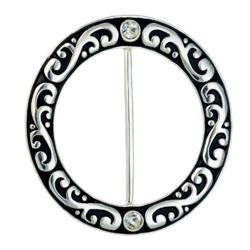 PammyJ Silvertone Filigree with Rhinestone Scarf Ring ()