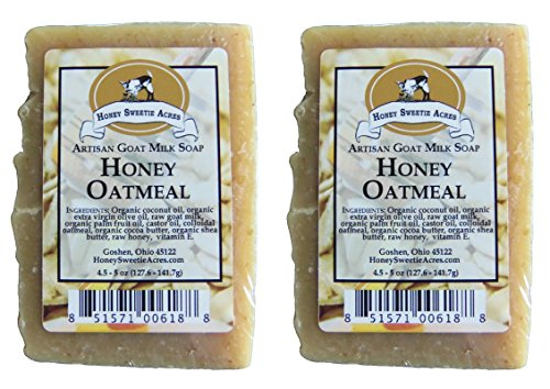 Premium Handcrafted Artisan Goat Milk Soap - FEELS SO WONDERFUL on your skin that 4 out of 5 customers come back! (Honey Oatmeal (2-Pack))