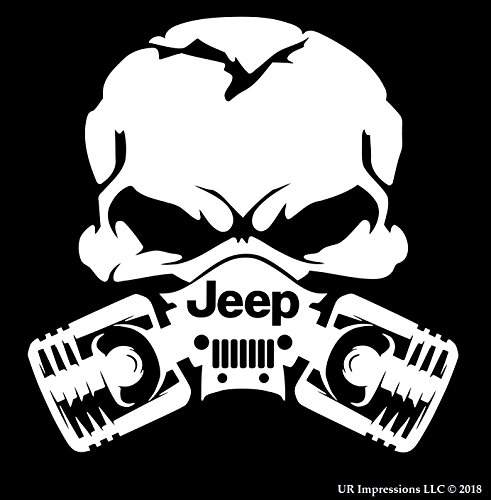 - MWht Jeep Piston Gas Mask Skull Decal Vinyl Sticker|UR Impressions|for Cars Trucks SUV Walls Windows Laptop|Matte White|5.5 Inch|URI028-MW