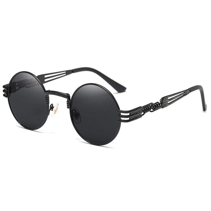 0d815d7cdf Vintage Steampunk Retro Metal Round Circle Frame Sunglasses for Men Women