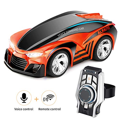 SHIJIEBEI 2018 Upgraded Remote Control Car, Rechargeable Toy Voice Control Car, Command by Smart Watch, Creative Voice-Activated car for Kids, Durable and Easy to Control (Orange)