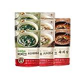 Bibigo Korean Food Popular Soup 8 Pack(500g x 8) - Spicy Beef and Vegetable Soup(Yukgaejang) 2pcs + Beef Seaweed Soup(Miyeokguk) 3pcs + Beef and Radish Soup(Soegogimuguk) 3pcs