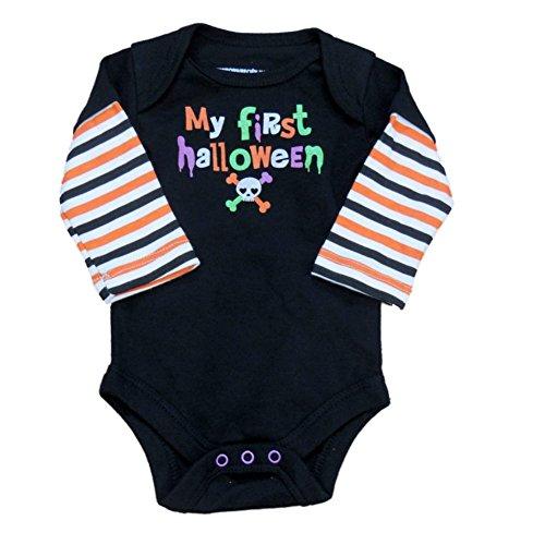 F Glory Infant Boy Black My First Halloween Creeper Skull Crossbone Shirt 3-6m
