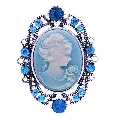 Soulbreezecollection Cameo Brooch Pin Charm Women Necklace Pendant Compatible Rhinestones Fashion Jewelry (Cameo Pin Pendant Brooch)