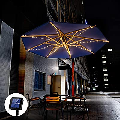 Etercycle Outdoor Solar Patio Umbrella String Lights Solar Powered Bright 8 Modes 104LED Lights Included 3AA 800mAh Battery,for Beach Deck Umbrella Garden Party Christmas Outdoor Decoration