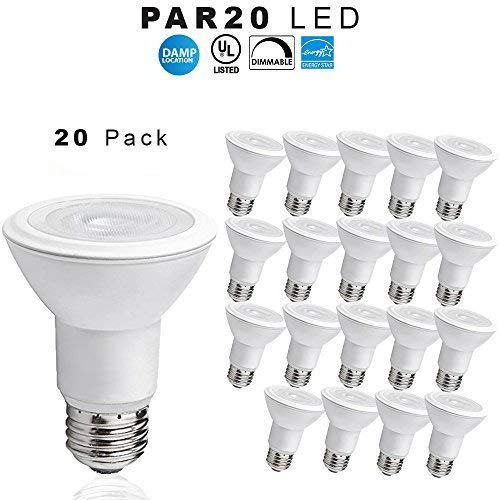 50w Par20 Flood Bulb - LED PAR20 Dimmable Flood Bulb, 9 Watt - 500 Lumens - 50W Replacement - 3000K Bright White - UL Indoor/Outdoor Rated - 10 PACK