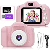 AMERTEER Kids Toy Digital Camera with [ 32 GB Memory Card and Card Reader ] Gifts for Child Boys Girls,Mini Rechargeable Children Shockproof Digital Camcorders Little Kid Toys Gift 1080P 5MP (pink)