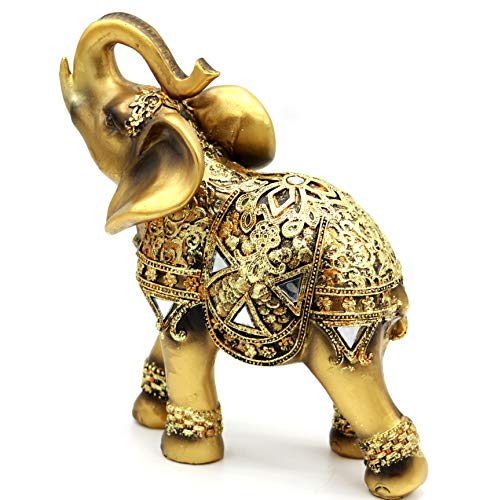 (Golden Color Feng Shui Collectible Lucky Elephant Trunk Facing Upwards Wealth Lucky Figurine, Perfect for Home, Office Decoration - by Crystal Collection)