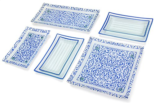 GAC 11 Piece Rectangular Blue Dinnerware Set Tempered Glass - Break and Chip Resistant - Oven/Microwave Safe - Dishwasher Safe with Serving Trays and Platters Service for 4 (Giftware 5.5 Inch Candy Dish)
