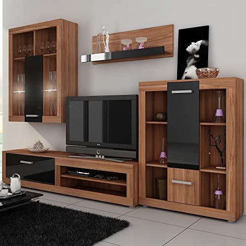 (Furniture.Agency Viki 4-Piece TV Set Led Multiple Finishes Plum/Black)