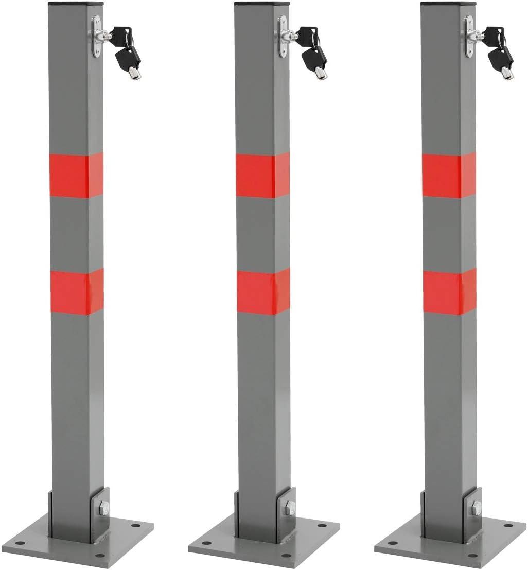 ECD Germany Barriera da Parcheggio per Auto Pieghevole in Acciaio con Lucchetto e 3 Chiavi 800x450 mm /Ø35mm Sbarra Posteggio Auto Ribaltabile