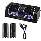 Insten Dual Charging Station w/ 2 Rechargeable Batteries & LED Light for Wii / Wii U Remote Control, Black - (Original Wii Controllers Not Included) Retail Packaging