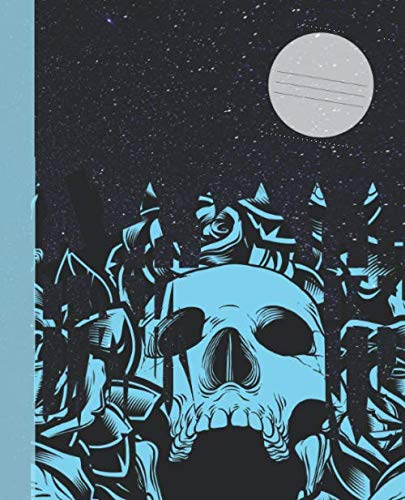 Spooky Blue Skull Graveyard Full Moon Night Composition Wide-ruled blank line School Notebook (COOL Scary COVERS:  Fun School Supplies & Stuff)
