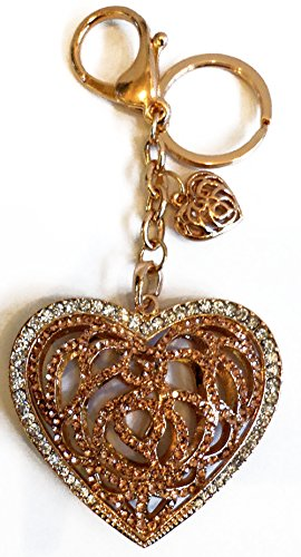 "Unique & Custom 1 Single Medium Size ""Split"" Circle Keychain Ring Made of Metal w/ Rhinestone Bling Filigree Heart Style Charm Made of Metal {Gold & Silver Color} w/ Lobster Claw Clip"