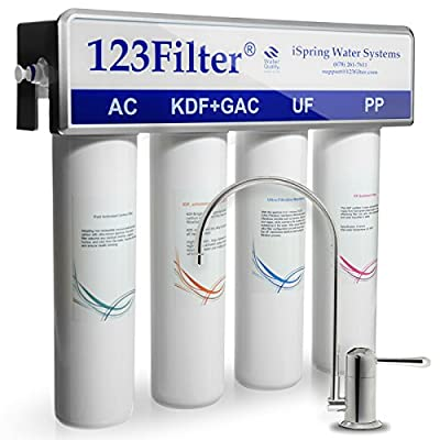 iSpring CU-A4 - US Legendary - 4-Stage 0.1 Micron Ultra-Filtration Water Filtration System with No-pressure Chrome Faucet