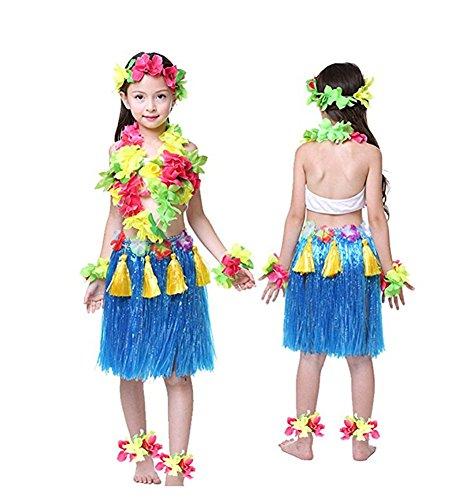 (Rosemary Hawaiian Hula Dance Costume Ballet Show Cosplay Dress Skirt Garland for kids girls 40cm Full Sets Blue)