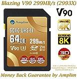 Amplim 64GB UHS-II SDXC SD V90 Card - Blazing Fast 299MB/S (1993X) Class 10 U3 Ultra High Speed UHSII Extreme Pro SD XC Memory Card. Professional 4K 8K Video. 64 GB / 64G TF Flash
