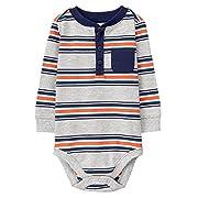 Gymboree Long Sleeve Bodysuit Baby Boys, Grey Orange Stripe, 3-6 Mo