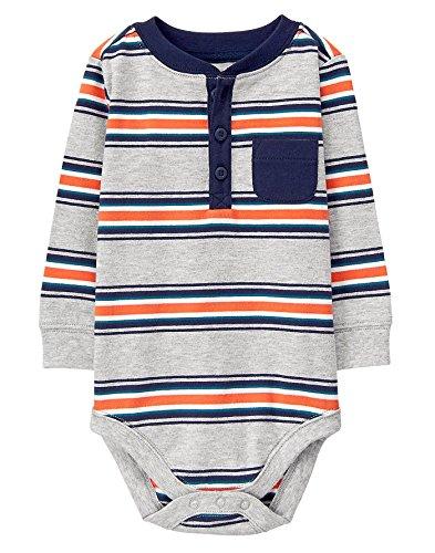 - Gymboree Baby Boy Long Sleeve Bodysuit, Grey Orange Stripe, 0-3 mo