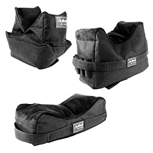 3. Set of 3 Black Color Bench Rest Shooting Bags (Empty / Unfilled)