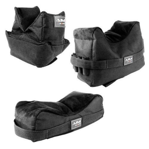 (Set of 3 Black Color Bench Rest Shooting Bags (Empty / Unfilled) This item works with Remington 700 770 597 , SIG 522 556 , FN SCAR , Bushmaster ACR , Hk416 Hk417 , AR15 , Mossberg 715t FLEX-22 , Umarex 416 , Ruger SR22 SR556 N0.1 M77 77/22 10/22 Mini-14 Mini-30 , Winchester 70, Marlin .22 9mm .45 Camp Carbine, Howa 1500, Weatherby Vanguard, S&W M&P 15-22 Rifles by m1surplus)