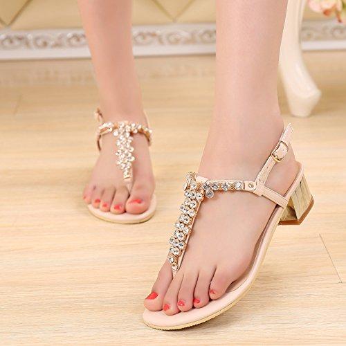 SUNAVY - Zapatos con tacón Mujer Beige 2