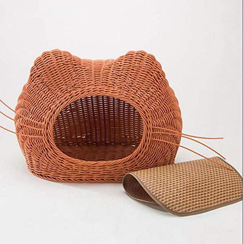 Cover Cool Rattan (H.ZHOU Dogs and Cats Bed Mats Rattan-Made Cool Cat House Summer Closed Cat House Cat Bed Pet Nest House Cat Supplies Four Seasons Universal Size:M (Color : Beige))